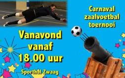 Vanavond zaalvoetbal carnavalstoernooi met ballenkanon!
